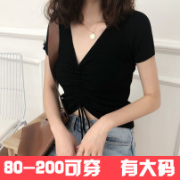 Women's large Summer 2021 White, black, yellow Knitwear / cardigan singleton  commute Self cultivation thin Socket Short sleeve Solid color Korean version V-neck routine Polyester, polyester, cotton Three dimensional cutting routine 18-24 years old Bandage 31% (inclusive) - 50% (inclusive)