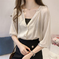 shirt Apricot, white M,L,XL,2XL,3XL,4XL Summer 2021 other 31% (inclusive) - 50% (inclusive) elbow sleeve commute Regular V-neck Single row multi button routine Solid color 18-24 years old Straight cylinder Korean version