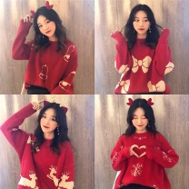 Wool knitwear Spring 2021 Average size Red snowflake, red bell, red elk, red bow Long sleeves singleton  Socket Viscose 71% (inclusive) - 80% (inclusive) Regular routine commute easy other routine Cartoon animation Socket Korean version 18-24 years old thread