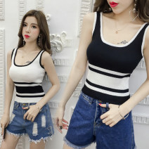 Vest sling Summer 2021 White, black Average size singleton  have cash less than that is registered in the accounts Self cultivation commute camisole stripe 18-24 years old 31% (inclusive) - 50% (inclusive) cotton Splicing