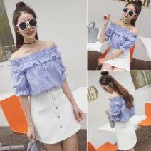 shirt blue Average size Summer 2021 other 31% (inclusive) - 50% (inclusive) Short sleeve commute Regular One word collar Socket routine stripe 18-24 years old Straight cylinder Korean version Auricularia auricula, fold, splice