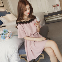 Dress Summer 2021 Black, pink M,L,XL,2XL,3XL,4XL Short skirt singleton  Short sleeve commute Crew neck Loose waist Solid color Socket A-line skirt routine Others 18-24 years old Type A Korean version Lace 31% (inclusive) - 50% (inclusive) other polyester fiber
