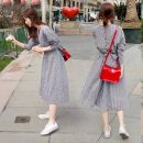 Dress Spring 2021 Picture color S,M,L,XL Middle-skirt singleton  Nine point sleeve commute Crew neck Elastic waist lattice Single breasted Big swing routine Others 18-24 years old Type A Korean version Bows, ties, buttons 31% (inclusive) - 50% (inclusive) other other