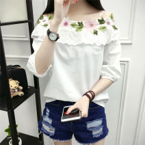shirt white S,M,L Spring 2021 other 31% (inclusive) - 50% (inclusive) three quarter sleeve commute Regular Crew neck Socket routine Solid color 18-24 years old Straight cylinder Korean version Embroidery