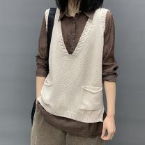 Vest Spring 2020 Dark grey, apricot, brown Average size routine V-neck Versatile Solid color No buckle other 51% (inclusive) - 70% (inclusive) cotton cotton