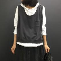 Vest Autumn 2020 Gray, black Average size routine Crew neck commute Solid color camisole 81% (inclusive) - 90% (inclusive) cotton