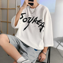 T-shirt Youth fashion T808 white, T808 black, T808 Navy, T809 white, T809 black, T809 Navy, T810 white, T810 black, T810 Navy, t811 white, t811 black, t811 Navy routine M,L,XL,2XL,3XL Liang Buqi three quarter sleeve Crew neck easy daily summer Cotton 100% teenagers Off shoulder sleeve tide 2021