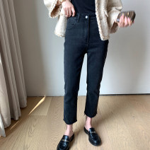 Women's large Spring 2021 Black, black [Plush] Jeans singleton  commute Straight cylinder moderate Solid color Korean version Denim, cotton, other Three dimensional cutting 18-24 years old pocket 31% (inclusive) - 50% (inclusive) Ninth pants tassels zipper