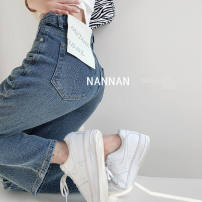 Jeans Spring 2021 blue S [recommended 80-95 kg], m [recommended 95-110 kg], l [recommended 110-120 kg], XL [recommended 120-135 kg], 2XL [recommended 138-150 kg], 3XL [recommended 150-170 kg] trousers High waist Straight pants routine 18-24 years old Button, other other light colour