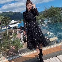 Dress Autumn 2012 Black Floral long sleeves, black floral short sleeves, white floral short sleeves L,XL,S,M,2XL,3XL Mid length dress singleton  Long sleeves commute V-neck Elastic waist Decor Socket Pleated skirt Lotus leaf sleeve Type A Korean version Bandage Chiffon