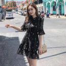 Dress Summer 2021 Black, white, black floral long sleeves S,M,L,XL,2XL,3XL Short skirt singleton  Short sleeve Sweet V-neck Elastic waist Decor Socket A-line skirt Type A Other / other Chiffon Mori