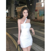Dress Summer 2021 S, M Short skirt singleton  Sleeveless commute One word collar Solid color Socket One pace skirt camisole Type H 91% (inclusive) - 95% (inclusive) knitting cotton
