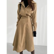 Dress Spring 2021 Khaki, black Average size Mid length dress singleton  Long sleeves commute square neck High waist Solid color A button Irregular skirt shirt sleeve Others 18-24 years old Type A Korean version 51% (inclusive) - 70% (inclusive) brocade Cellulose acetate