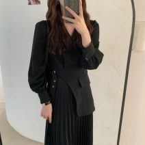 Dress Spring 2021 Apricot, black Average size longuette singleton  Long sleeves commute V-neck High waist Solid color Pleated skirt routine Type A Korean version fold 71% (inclusive) - 80% (inclusive) polyester fiber