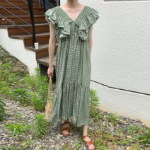 Dress Spring 2021 White, green Average size longuette singleton  Sleeveless commute V-neck High waist Dot other A-line skirt Flying sleeve Others 18-24 years old Type A Korean version 71% (inclusive) - 80% (inclusive) Chiffon other