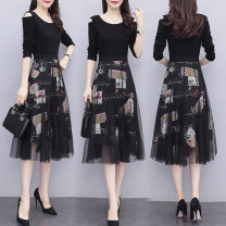 Dress Spring 2021 black XL,L,M,XXL Mid length dress Fake two pieces Long sleeves commute Crew neck middle-waisted Decor Socket A-line skirt routine Others 25-29 years old One for one Printing, stitching, three-dimensional decoration, 3D 71% (inclusive) - 80% (inclusive) other polyester fiber