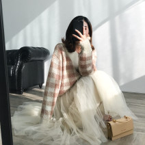 skirt Winter of 2018 S, M Apricot, dark green Mid length dress commute High waist Fluffy skirt Solid color Type X 18-24 years old K0043 30% and below other Special Dorothy other Korean version