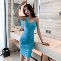 Dress Summer 2021 Sky blue, orange, lake blue, black Average size Middle-skirt singleton  commute V-neck High waist Socket One pace skirt camisole 18-24 years old Simplicity Hollowing out