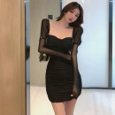 Dress Spring 2021 Black, card S,M,L Short skirt singleton  Long sleeves commute V-neck High waist Solid color Socket One pace skirt routine camisole Type H Korean version Splicing 51% (inclusive) - 70% (inclusive) polyester fiber
