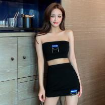 Fashion suit Summer 2021 Average size White bra, black bra, white skirt, black skirt 51% (inclusive) - 70% (inclusive)