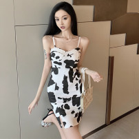 Dress Summer 2021 Cow pattern S,M,L Short skirt singleton  Sleeveless commute other middle-waisted Animal design zipper Pencil skirt camisole Type H Korean version backless A8552 31% (inclusive) - 50% (inclusive) other polyester fiber
