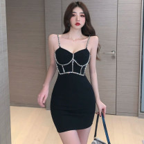 Dress Spring 2021 Sky blue, black S,M,L Short skirt singleton  Sleeveless commute V-neck High waist Solid color One pace skirt camisole Type H Korean version backless A3168 51% (inclusive) - 70% (inclusive) polyester fiber