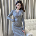 Dress Spring 2021 Grey, pink, lake blue, black, camel grey Average size Mid length dress singleton  Long sleeves commute V-neck High waist Solid color Socket One pace skirt routine 18-24 years old Type H Other / other Korean version M368 51% (inclusive) - 70% (inclusive) knitting acrylic fibres