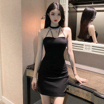 Dress Summer 2021 White, black S,M,L Short skirt singleton  Sleeveless commute Crew neck High waist Solid color One pace skirt Hanging neck style Type H Korean version Hollowed out, bare back 51% (inclusive) - 70% (inclusive) polyester fiber