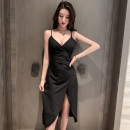Dress Summer 2021 White, black S,M,L Short skirt singleton  Sleeveless commute V-neck High waist Solid color One pace skirt Type H Korean version backless 51% (inclusive) - 70% (inclusive) polyester fiber