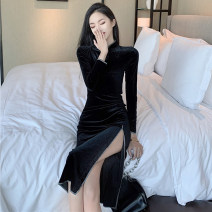 Dress Autumn 2020 black S,M,L longuette singleton  Long sleeves commute stand collar High waist Solid color One pace skirt Type H Korean version 51% (inclusive) - 70% (inclusive) polyester fiber