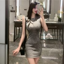 Dress Summer 2021 grey S,M,L Short skirt singleton  Sleeveless street Crew neck middle-waisted Solid color Socket One pace skirt routine camisole 18-24 years old Type H 51% (inclusive) - 70% (inclusive) other other Europe and America