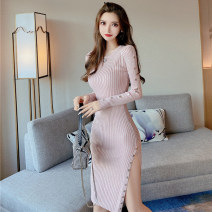 Dress Spring 2021 Pink, black S,M,L Mid length dress singleton  Long sleeves commute V-neck High waist Solid color One pace skirt Type H Korean version Bright silk 51% (inclusive) - 70% (inclusive) knitting polyester fiber