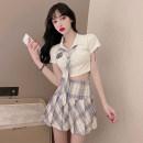 Fashion suit Summer 2021 S,M,L Plaid tie T, plaid skirt, three piece set 81% (inclusive) - 90% (inclusive) cotton