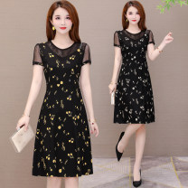 Dress Summer 2021 L,XL,2XL,3XL,4XL,5XL Middle-skirt singleton  Short sleeve commute Crew neck middle-waisted Solid color Socket A-line skirt Type A Other / other Korean version Three dimensional decoration, zipper 30% and below brocade cotton