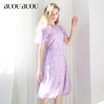 Dress Spring 2020 155/S 160/M 165/L 170/XL 175/XXL Mid length dress singleton  Short sleeve commute Crew neck High waist Decor zipper Big swing Lotus leaf sleeve Others 35-39 years old Type X Buou Buou Ol style More than 95% polyester fiber Polyester 100% Pure e-commerce (online only)