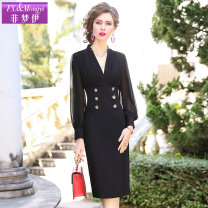 Dress Spring 2020 S M L XL 2XL 3XL 4XL Mid length dress singleton  Long sleeves commute V-neck middle-waisted Solid color zipper One pace skirt routine Others 30-34 years old Type H FX.&Mongyi Ol style Pleated button zipper More than 95% other polyester fiber Polyester 100%