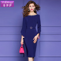 Dress Spring 2021 dark blue S M L XL 2XL 3XL Mid length dress singleton  Long sleeves commute Crew neck High waist Solid color zipper One pace skirt pagoda sleeve 30-34 years old Type H FX.&Mongyi Retro STUDDED ZIPPER F21CL37226 91% (inclusive) - 95% (inclusive) polyester fiber