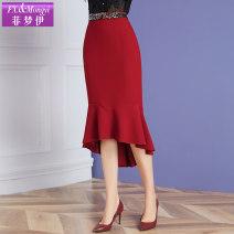 skirt Autumn 2020 S,M,L,XL,2XL,3XL Black, crimson Mid length dress commute High waist skirt Solid color Type A 30-34 years old F20QD34309 More than 95% FX.&Mongyi polyester fiber zipper Retro