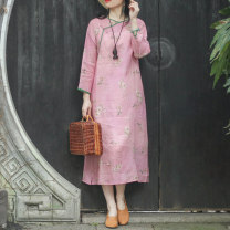 Dress Summer 2021 The death of peach M, L Mid length dress singleton  three quarter sleeve commute V-neck Loose waist Decor Socket A-line skirt routine Others Type A On Jiangnan Retro Pocket, stitching, button, print, ramie N210266 More than 95% hemp