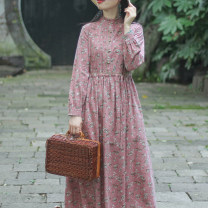 Dress Spring 2021 Pink S,M,L,XL Mid length dress singleton  Long sleeves commute stand collar Loose waist Broken flowers Socket Big swing routine Others Type A On Jiangnan Retro Fold, fungus, pocket, lace, button, print, cotton and hemp A20931 51% (inclusive) - 70% (inclusive) hemp