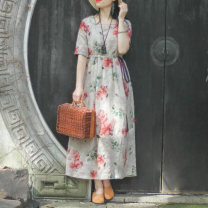 Dress Summer 2021 Hibiscus syriacus M [pre-sale about 8 days], l [pre-sale about 8 days], XL [pre-sale about 8 days] longuette singleton  elbow sleeve commute square neck Loose waist Decor Socket A-line skirt routine Type A On Jiangnan Retro Pocket, lace up, stitching, printing, ramie N0311 hemp