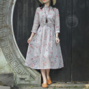 Dress Spring 2021 fall in love at first sight S [spot], m [spot], l [spot] Mid length dress singleton  three quarter sleeve commute Loose waist Decor Socket A-line skirt routine Type A On Jiangnan Retro Auricularia auricula, pocket, lace, stitching, ramie N210214 More than 95% hemp