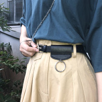 Belt / belt / chain Pu (artificial leather) black female belt Versatile Single loop Youth, youth Pin buckle soft surface 2cm Heavy line decoration unclecm YD81 105cm