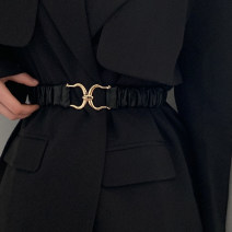 Belt / belt / chain Pu (artificial leather) Black, brown female Waistband Versatile Single loop Youth, youth a hook alloy unclecm