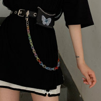 Belt / belt / chain Pu (artificial leather) Separate belt, separate chain, belt + chain, belt + Chain + bag female belt Hip hop Single loop Youth, youth Pin buckle alloy chain unclecm