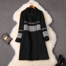 woolen coat Winter of 2019 S,XL,L,M black other 31% (inclusive) - 50% (inclusive) have more cash than can be accounted for Long sleeves commute other routine tailored collar houndstooth  lady 25-29 years old Splicing Tweed