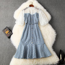 Dress Summer 2020 White and blue S,XL,L,M Middle-skirt singleton  elbow sleeve commute stand collar High waist other zipper other puff sleeve Others 25-29 years old Type A lady 31% (inclusive) - 50% (inclusive) other polyester fiber