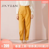 Casual pants yellow S M L XL Spring 2021 trousers Straight pants Natural waist commute routine 25-29 years old C211105 Jinyuan polyester fiber Retro pocket cotton Cotton 100% Same model in shopping mall (sold online and offline)