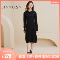 Dress Winter 2020 Black Khaki S M L Mid length dress singleton  Nine point sleeve commute other middle-waisted Solid color other Princess Dress other Others 25-29 years old Jinyuan lady 30% and below knitting polyester fiber Same model in shopping mall (sold online and offline)