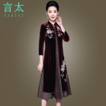 Middle aged and old women's wear Spring 2021, autumn 2021 claret M,L,XL,2XL,3XL,4XL,5XL noble Dress easy Two piece set Big flower 40-49 years old Socket thick stand collar Medium length routine Y1970A Embroidery Polyester, others Medium length Polyester other